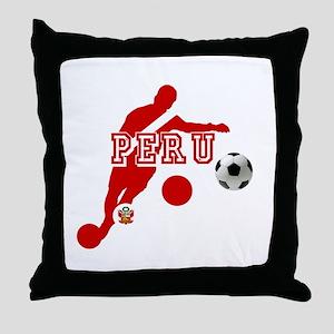 Peru Football Player Throw Pillow