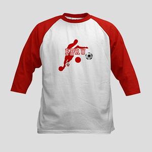 Peru Football Player Kids Baseball Tee