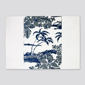 Tropical Beach Hibiscus Palm Style 5'x7'Area Rug