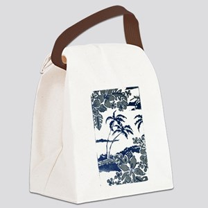 Tropical Beach Hibiscus Palm Styl Canvas Lunch Bag