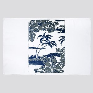 Tropical Beach Hibiscus Palm Style 4' x 6' Rug
