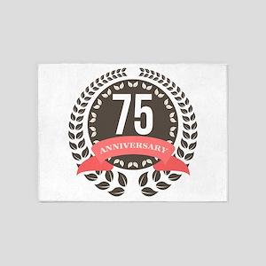 75 Years Anniversary Laurel Badge 5'x7'Area Rug
