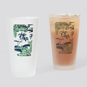 Tropical Beach Hibiscus Palm Style Drinking Glass