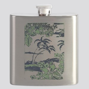 Tropical Beach Hibiscus Palm Style Flask