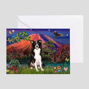 Mt Fuji Border Collie Greeting Card