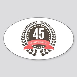 45Years Anniversary Laurel Badge Sticker (Oval)