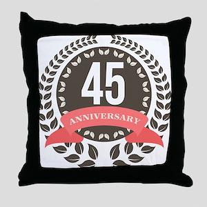 45Years Anniversary Laurel Badge Throw Pillow
