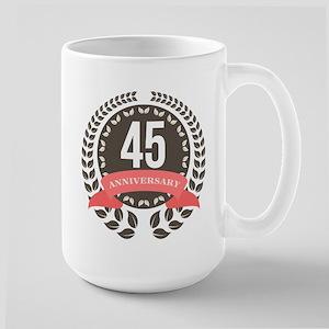 45Years Anniversary Laurel Badge Large Mug
