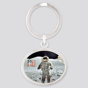 Moon Walk Oval Keychain