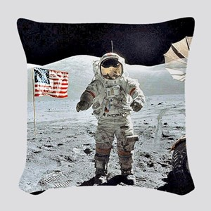 Moon Walk Woven Throw Pillow