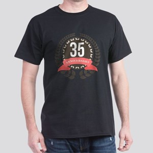 35 Years Anniversary Laurel Badge Dark T-Shirt