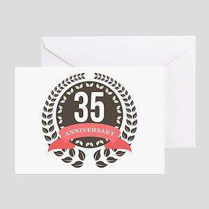 35 Years Anniversary Laurel Badge Greeting Card