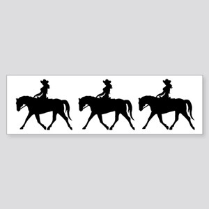 Cute Cowgirl on Horse Bumper Sticker