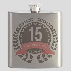 15 Years Anniversary Laurel Badge Flask
