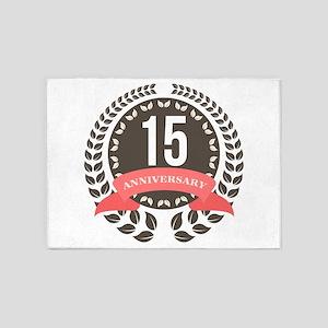 15 Years Anniversary Laurel Badge 5'x7'Area Rug
