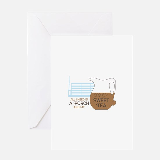 Porch and sweet tea Greeting Cards