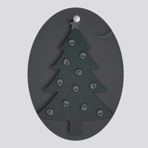 macabre christmas tree Oval Ornament