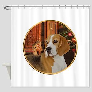Beagle Christmas Shower Curtain