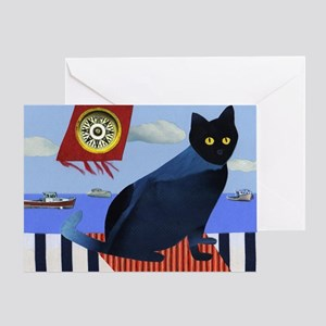 Blue Cat & Lobster Boats Greeting Card