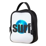 Surf Gray Blue Water Drop Neoprene Lunch Bag