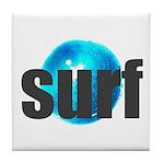 Surf Gray Blue Water Drop Tile Coaster