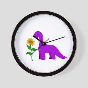 Sauropod And Sunflower Wall Clock