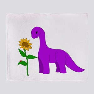 Sauropod and Sunflower Throw Blanket