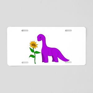 Sauropod and Sunflower Aluminum License Plate