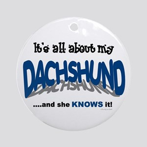 All About My Dachshund (She) Ornament (Round)