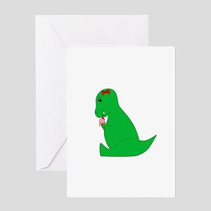T-Rex Ice Cream Cone Greeting Cards