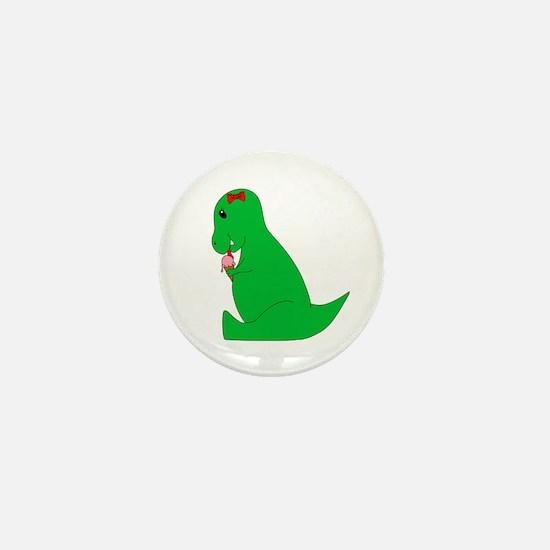 T-Rex Ice Cream Cone Mini Button