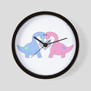 Adoring Apatosaurus Wall Clock