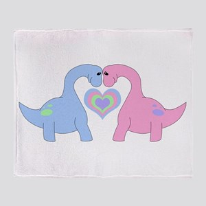 Adoring Apatosaurus Throw Blanket