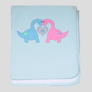 Adoring Apatosaurus baby blanket