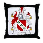 Harvey Family Crest Throw Pillow