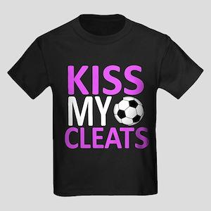 Kiss My Cleats Kids Dark T-Shirt