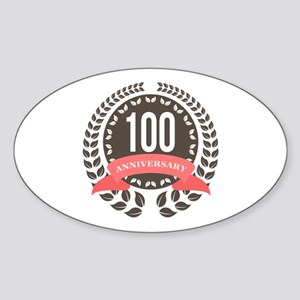 100 Years Anniversary Laurel Badge Sticker (Oval)