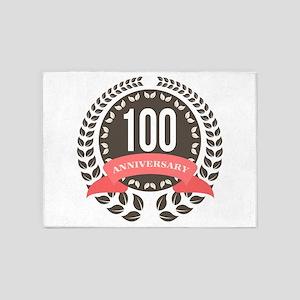 100 Years Anniversary Laurel Badge 5'x7'Area Rug