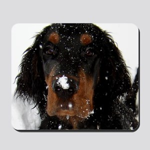 Gordon Setter Pup: Fun in the Snow Mousepad
