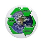 Reduce Reuse Recycle Earth Ornament (Round)
