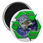 Reduce Reuse Recycle Earth Magnet