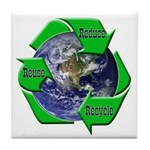 Reduce Reuse Recycle Earth Tile Coaster