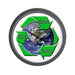 Reduce Reuse Recycle Earth Wall Clock