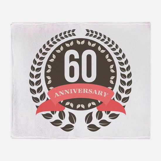 60 Years Anniversary Laurel Badge Throw Blanket