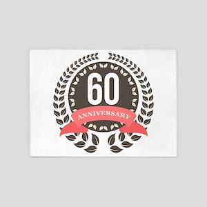 60 Years Anniversary Laurel Badge 5'x7'Area Rug