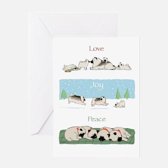 "Keeshond ""Love Joy Peace"" Greeting Card"