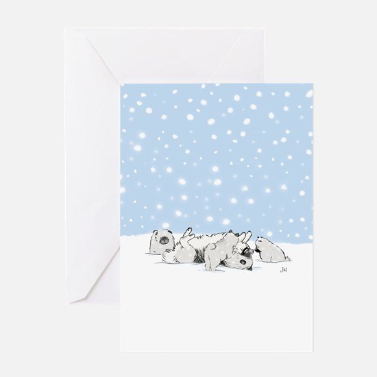 Keesie Snow Dogs Greeting Card