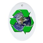 Earth Day Recycle Oval Ornament