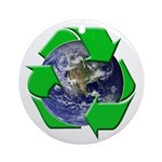 Earth Day Recycle Ornament (Round)