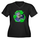 Earth Day Recycle Women's Plus Size V-Neck Dark T-